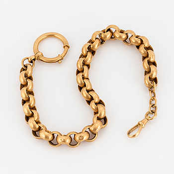 A 18 k gold pocket watch chain, dated 1927.