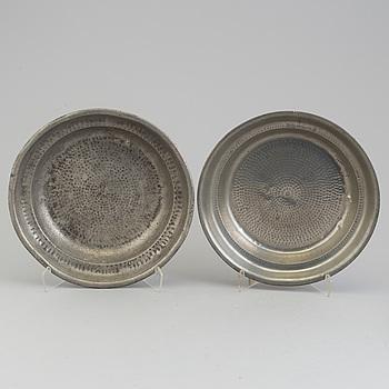 SKÅLFAT, 2 st, tenn, 1800-tal.