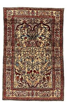 215. A RUG, a semi-antique silk Kashan relief (souf), ca 202 x 130,5-133 cm.