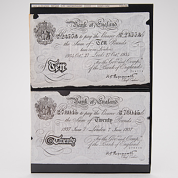 Two 1940s English bank notes, Operation Bernhard German forgeries.