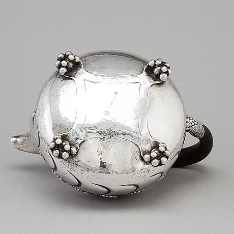 A danish art nouveau silver teapot, maker's mark evald nielsen, copenhagen, 1919