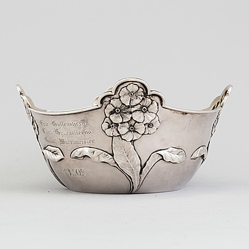 A Danish Art Nouveau parcel-gilt sterling silver planter bowl, maker's mark A Michelsen, Copenhagen 1901.