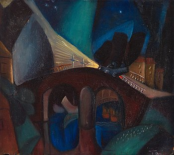 345. Erik Olson, Night motif with automobile.