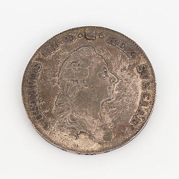 SILVERMYNT, 1 riksdaler, Gustavsus III, 1781.