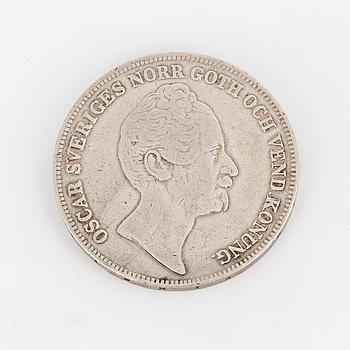 SILVERMYNT, 1 riksdaler, Oscar I, 1854.