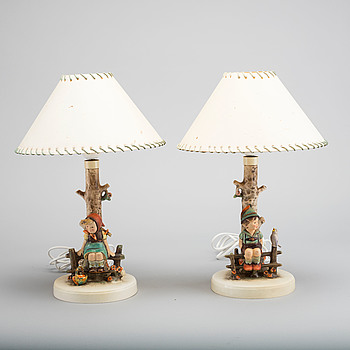 MARIA INNOCENTIA HUMMEL, MARIA INNOCENTIA HUMMEL, a pair of porcelain lamps.
