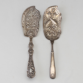 TÅRTSPADAR, 2 st, silver, Köpenhamn, Danmark, 1800-tal.