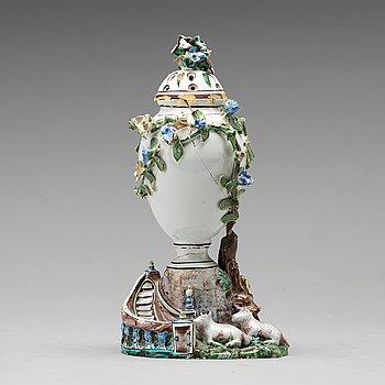 255. A Swedish Marieberg faience pottpurri vase with cover, 18th Century.