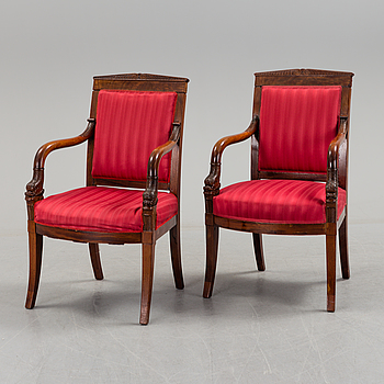 a pair of south-/middleeuropean empire armchairs from the first half of the 20th century.
