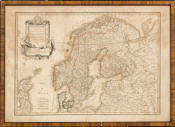 """KARTA, graverad, """"Les Couronnes du Nord"""". Jean Janvier, Paris 1762."""