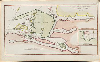 "KARTA, kolorerat kopparstick, ""Plan de La Baye Dusky (obscure) a la Nouve. Zelande 1773""Robert Bénard, 1778."