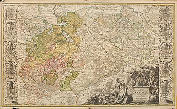 "KARTA, kopparstick, ""Ducatus Electorat et Principat Ducum...""Friedrich Zollmann & Phillipp H. Zollmann, Nürnberg 1731."
