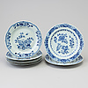 A set of eight (6+2) blue and white dinner plates, qing dynasty, qianlong (1736 95)