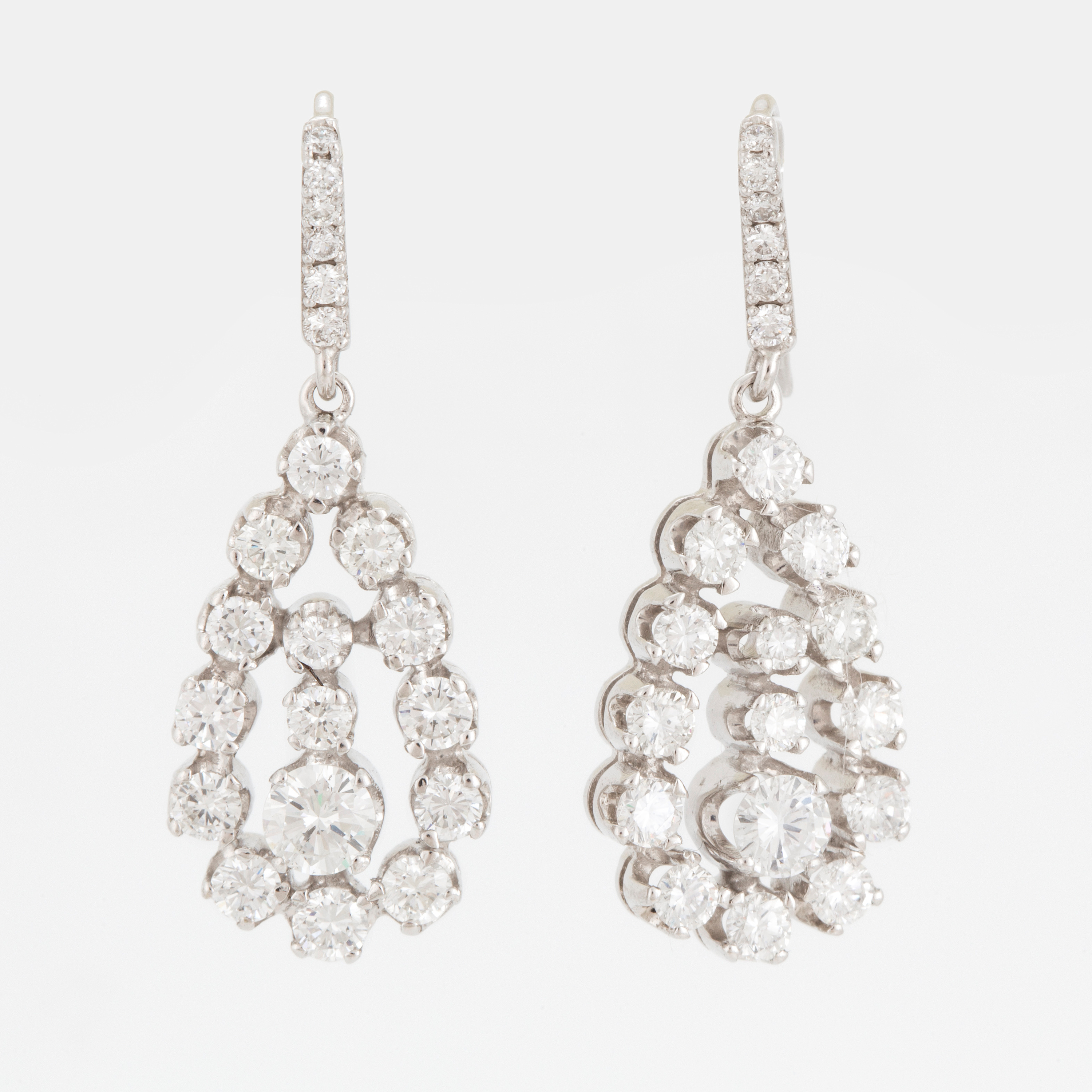 diamond shaped in pave pear gold earrings copy rose