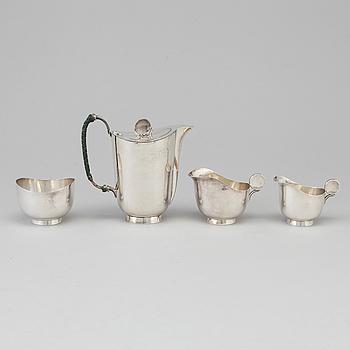A 4 part silver coffe service by Sven Carlman, Stockholm 1970-72.