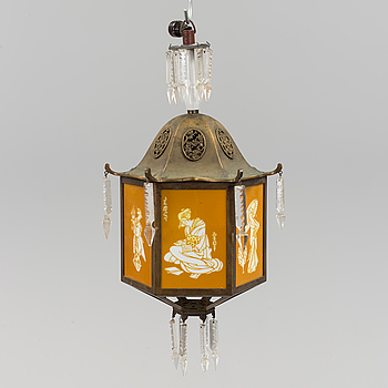 A early 20th century ceiling light. Height ca 55 cm.