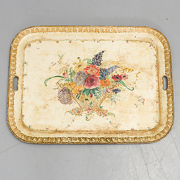 A painted tin tray, 19th Century.