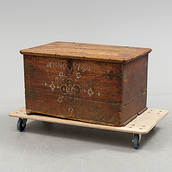 A SWEDISH CHEST, dated 1754.