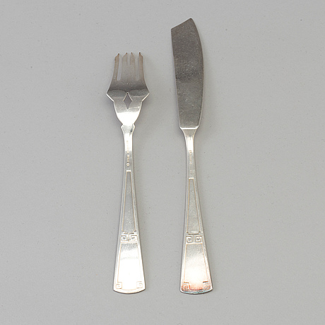 A set of 12 +12 silverplate fish knives and forks, maker's mark ag dufva, sweden, earli 20th century