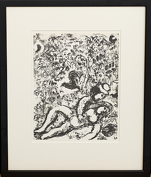 MARC CHAGALL, MARC CHAGALL, lithograph, unsigned. From  Chagall Lithographe II.