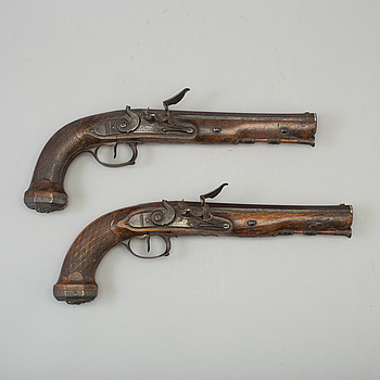 A pair of french officers rifled flintlock pistols by Le Page circa 1810.