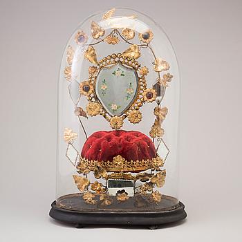 WEDDING DECORATION, a 'globe de mariés', second half of the 19th century.