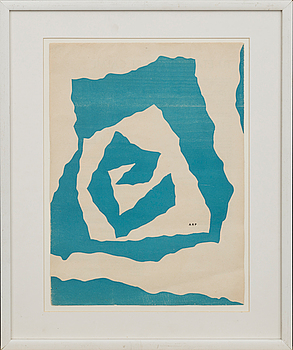 JEAN ARP, litograph in color, from Derrière le Miroir, not signed,