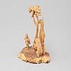 Jutsajaure, sculpture group, carved wood, signed m.s