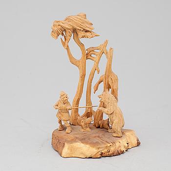 MARTIN STENSTRÖM, Jutsajaure, skulpturgrupp, snidat trä, signerad M.S.
