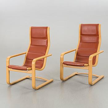"YNGVE EKSTRÖM, fåtöljer ett par ""Lamello"" för Swedese möbler sent 1900-tal."
