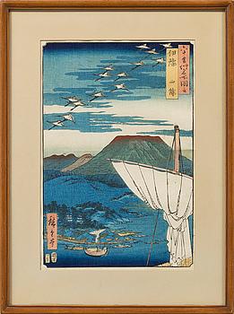 ANDO UTAGAWA HIROSHIGE, träsnitt, troligen sent 1800-tal.