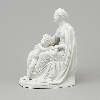 A bisquit sculpture of a Mother and Child after Bertel Thorvaldsen, Denmark, Bing & Gröndahl, 1950's/70's.
