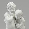 """Bertel thorvaldsen, efter. skulptur, biskvi. """"två barn"""". bing & gröndahl, danmark, 1900 tal"""
