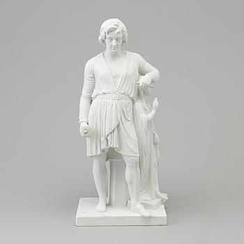"BERTEL THORVALDSEN, efter. SKULPTUR, biskvi. ""Thorvaldsen stödjer sig på Hoppet"". Kungl. Dansk, Danmark, 1800-tal."