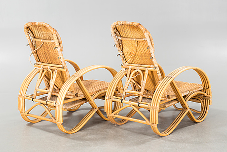 A pair of 20th century deck chairs.