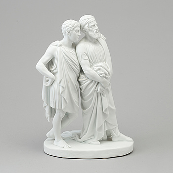 """BERTEL THORVALDSEN, efter. SKULPTUR, biskvi. """"En son med sin far"""". Bing & Gröndahl, Danmark, 1800-tal."""