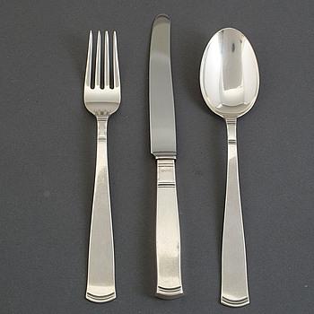 """JACOB ÄNGMAN, bestick av silver, 30 delar. """"Rosenholm"""", GAB, Stockholm, ca 1966-1979. Vikt ca 1 422 gram."""