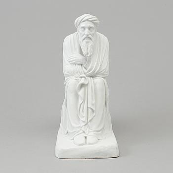 A biscuit sculpture of a scholar, after Bertel Thorvaldsen, Bing & Gröndahl, Denmark, 19th Century.