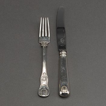 BESTICK 11 + 6 st silver 18/1900-tal.