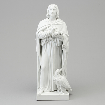 A bisquit figure of 'the Apostle Johannes' after Bertel Thorvaldsen, Royal Copenhagen, Denmark, 19th Century.