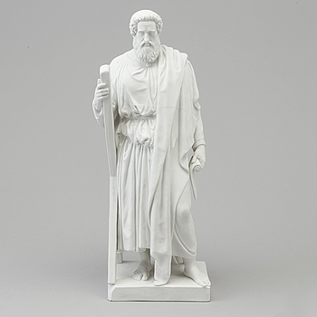 """BERTEL THORVALDSEN, efter. SKULPTUR, biskvi. """"Aposteln Andreas med skrivtavla"""". Kungl Dansk, 1800-tal."""