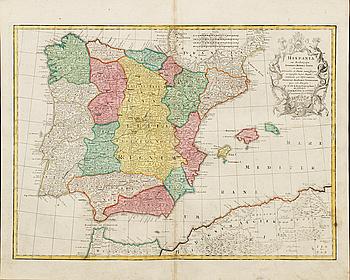 """KARTA, TOBIAS CONRAD LOTTER, handkolorerad kopparstick """"Hispania"""" """" ur Atlas Novus 1770."""