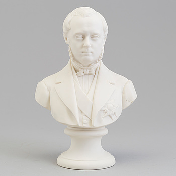 A bisquit sculpture bust of 'Louis de Geer', Gustafsberg, 1870's.