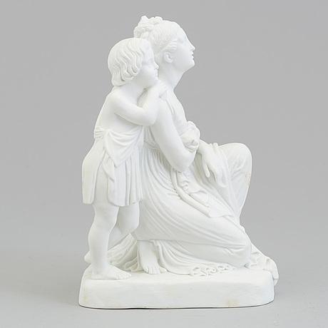 A bisquit scultpure of 'a mother and her son' after bertel thorvaldsen, bing & gröndahl, denmark, 1870's.