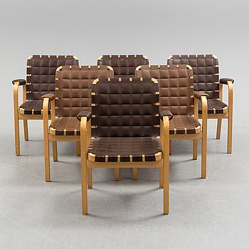 ALVAR AALTO, ALVAR AALTO, 6 pcs of birch armchairs model 45.