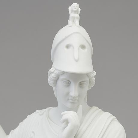 """Skulptur, biskvi. """"minerva"""", royal copenhagen, danmark, 1870 tal"""