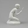 """Figurin, porslin. """"flicka med spegel"""", gerhard henning, royal copenhagen, danmark, 1910 tal"""