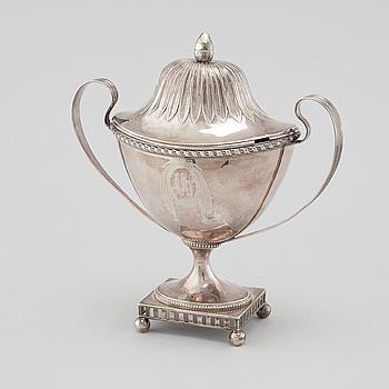 JOHAN MALMSTEDT, sockerskål, silver, Göteborg, 1796.