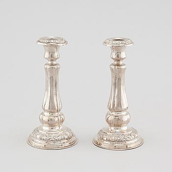 CARL LIEDBERG, troligen, ljusstakar, ett par, silver, Nyköping, 1854.