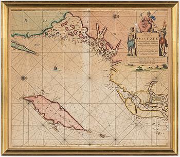 """KARTA, """"Paskaart voor een gedeelte der Oost Zee beginnende van Schenkkenes tot aan Stokholm""""."""